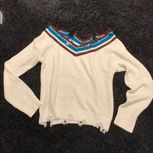 Cozy casual distressed sweater